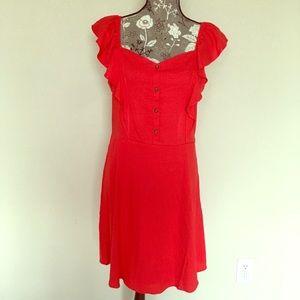 Red ruffle dress w/sweetheart neckline